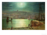 Whitby Harbour by Moonlight, 1870 Prints by John Atkinson Grimshaw