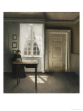 A Woman Sewing in an Interior Premium Giclee Print by Vilhelm Hammershoi