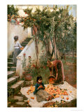 The Orange Gatherers Lmina gicle por John William Waterhouse