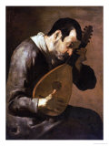 The Sense of Hearing, a Man Playing a Mandolin Giclee Print by Bartolomeo Passante