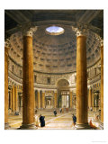 The Interior of the Pantheon, Rome, Looking North from the Main Altar to the Entrance, 1732 Giclée-tryk af Giovanni Paolo Pannini