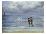 Boys Bathing on Boys Bathing on the Beach at Skagen Giclee Print by Peder Severin Kr&#246;yer