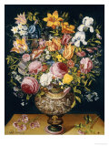 Roses, Tulips, Narcissi, Irises and Other Flowers in a Sculpted Urn with Flowers Print by Andries Danieels