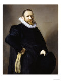 Portrait of a Gentleman, Standing Three-Quarter Length, Wearing a Black Costume Art by Frans Hals