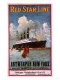 Red Star Line, Antwerpen-New York, circa 1910 Affiche