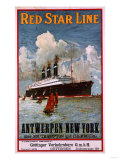 Red Star Line, Antwerpen-New York, circa 1910 Giclée-vedos