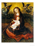 The Virgin and Child with Two Music-Making Angels in a Rose Garden Print by Rogier van der Weyden