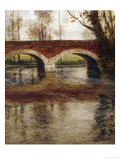 A River Landscape with a Bridge Print by Fritz Thaulow
