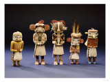Five Hopi Cottonwood Kachina Dolls Giclee Print