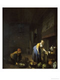 A Kitchen With A Kitchen Maid Preparing Poultry And A Fishmonger Delivering A Basket Of Fish Lámina giclée por Hendrik Martensz Sorgh