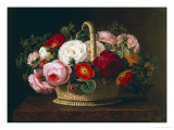 Roses in a Basket on a Ledge, 1838 Giclee Print by Johan Laurentz Jensen
