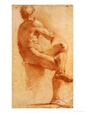 A Male Nude Seated with His Back Turned Prints by Annibale Carracci