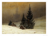 Winter Landscape with a Church Gicléedruk van Caspar David Friedrich