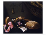 Lutes and Violin on a Table, a Curtain to the Right Giclee Print by Evaristo Baschenis