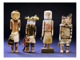 Four Hopi Cottonwood Kachina Dolls Giclee Print