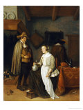 A Soldier Drinking with a Young Woman in an Inn, 1664 Reproduction proc&#233;d&#233; gicl&#233;e par Gerritsz. Quiryn Van Brekelenkam