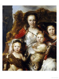 A Pastoral Group Portrait of a Lady and Three Children Seated on a Gilded Throne Poster von Jan Van Noordt