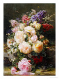 Still Life with Roses, Syringas and a Blue Tit on a Mossy Bank Premium Giclee Print by Jean Baptiste Claude Robie