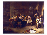 Peasants Drinking and Smoking in an Inn Giclee Print by Gillis Van Tilborch
