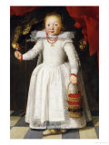 A Young Girl Holding a Basket of Cherries with a Parrot on a Perch, 1625 Giclee Print by Cornelis De Vos