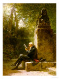 The Philosopher (The Reader in the Park) Gicléetryck av Carl Spitzweg