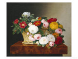 Still Life of Roses in a Basket on a Ledge Posters by Johan Laurentz Jensen