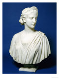 A Mid-19th Century American Marble Bust of Diana Prints by Hirim Powers
