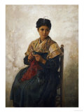 A Girl Knitting, 1873 Giclee Print by Jules Breton