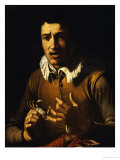 Youth with a Crab Pinching His Finger and a Crayfish on a Ledge Giclee Print by Bartolomeo Manfredi