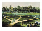The American National Game of Baseball Giclee Print by  Currier & Ives