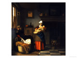 A Young Woman and a Girl Putting a Baby to Bed in a Cradle in an Interior Art by Pieter de Hooch