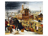 Townsfolk Skating on a Castle Moat Giclee Print by Pieter Bruegel the Elder