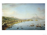 View of Naples from Posillipo with the Riviera Di Chiaia Print by Antonio Joli