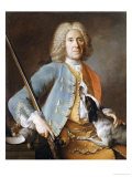 Portrait of a Sportsman Holding a Gun with a Hound Prints by Jean-Baptiste Oudry