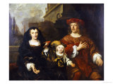 A Group Portrait of an Elderly Woman with Her Son () and Grandson () on a Palatial Balcony, 1649 Giclée-Druck von Louis Vallee