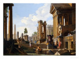 Capriccio of Classical Ruins with a Statue of Marcus Aurelius,The Temple of Saturn Impression giclée par Giovanni Paolo Pannini