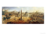 Piazza Del Popolo, Rome Giclee Print by  Vanvitelli (Gaspar van Wittel)