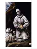 Saint Francis Contemplating a Skull with Brother Leo Láminas por  El Greco