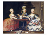 A Boy in Ornate Blue Costume Building a House of Cards, with Two Girls in Lace-Trimmed Dresses Giclee Print by Francois Hubert Drouais