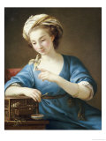 A Young Woman in Turkish Costume Seated Playing with a Cage-Bird, 1766 Giclee Print by Joseph Marie Vien