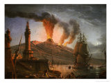 Eruption of Vesuvius at Night with Fishermen Unloading Their Nets Near the Lighthouse, 1781 Giclee Print by Charles-francois Grenier De La Croix