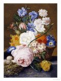 Roses, Morning Glory, Narcissi, Aster and Other Flowers in a Basket with Eggs in a Nest, 1744 Prints by Dec Van Huysum