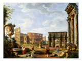 A Capriccio View of Rome with the Colosseum, the Arch of Constantine, 1743 Giclee Print by Giovanni Paolo Pannini