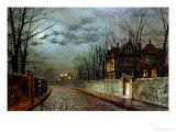 John Atkinson Grimshaw - Old English House, Moonlight After Rain, 1883 Digitálně vytištěná reprodukce