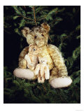 """Golden Curley Plush Covered Teddy Bear in a Christmas Tree with His """"Inseparable Friends"""", 1910 Prints by  Steiff"""