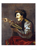 A Seated Lutanist Pointing Giclee Print by Hendrick Terbrugghen