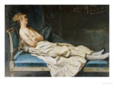 A Lady Reclining on a Chaise Longue Giclee Print by Domenico Induno