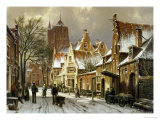 A Winter Street Scene Poster by Willem Koekkoek