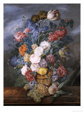 A Still Life of Mixed Flowers in a Vase on a Stone Ledge, 1818 Giclee Print by Marie Von Pachner