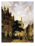 A Street Scene with Numerous Figures Giclee Print by Adrianus Eversen